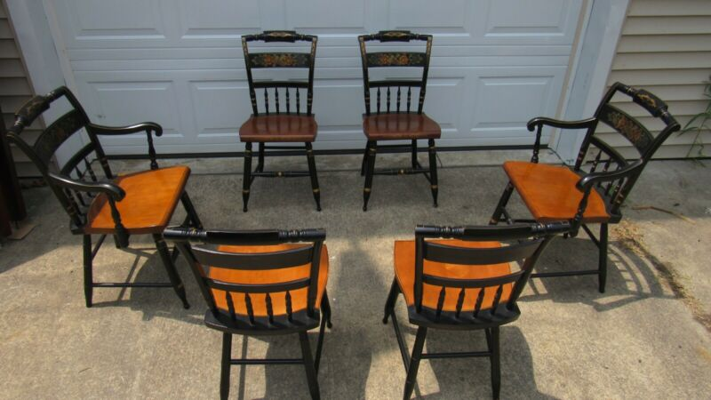 Set Six Hitchcock Farmhouse Chairs Dining Kitchen