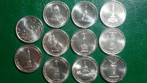 "RUSSIA: 10 COIN SET, 5 ROUBLES BICENTENNIAL 1812-2012 ""WAR OF 1812"" UNC"