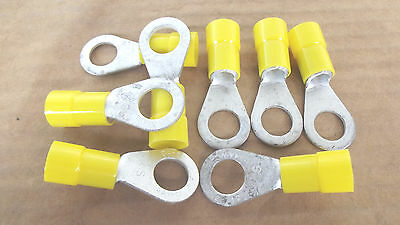 """8 PCS VINYL RING ELECTRICAL CONNECTORS,4 GAUGE 1/2""""STUD SIZE,MADE IN USA.1.7."""