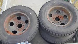 Truck tyres and rims.