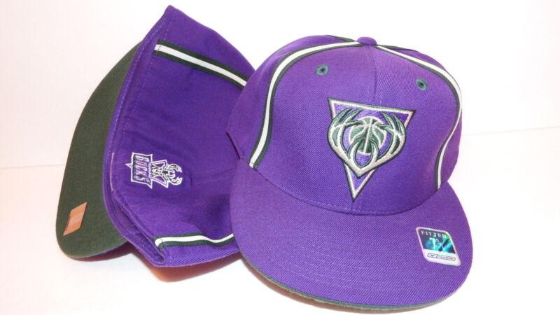 NEW HAT CAP FITTED REEBOK NBA MILWAUKEE BUCKS SIZE 7 3/4 PURPLE GREEN WHITE