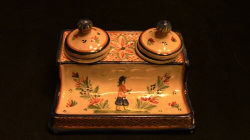 A Lovely French Quimper Double Inkwell