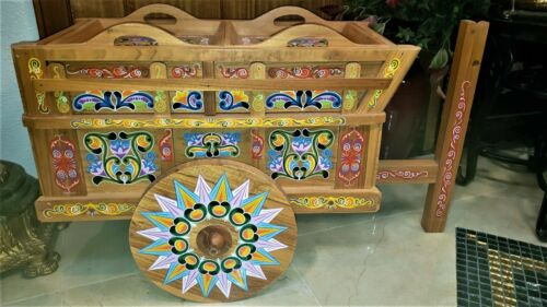 Vintage Hand Made/Hand Painted FOLK ART WOOD Liquor or ? Cart Wagon Costa Rico!