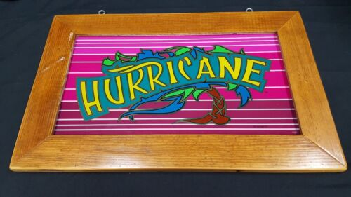 "Vintage Multi Colored Glass Hurricane Slot Sign & Heart Pine Frame 21"" x 13"""