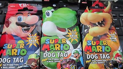 3 PACKS Super Mario Dog Tag Fun Packs w/ Card & Sticker/pack, by Enterplay, New