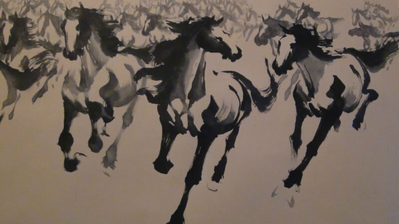 EARLY 20C CHINESE LARGE WATERCOLOR SCROLL  HERD OF HORSES , ARTIST SIGN&SEAL