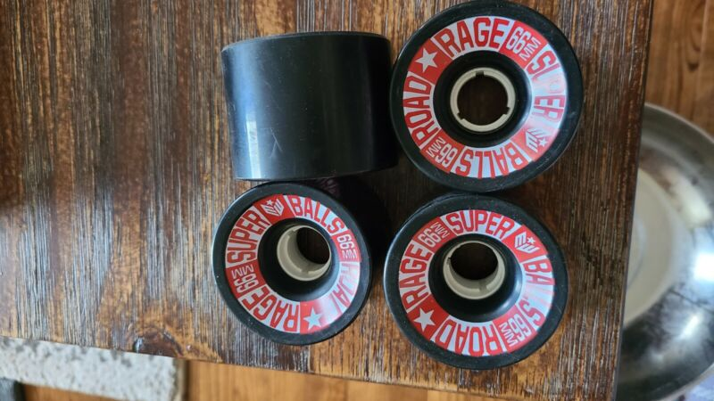 NOS Earthwing Road Rage Longboard Wheels - Black 66mm