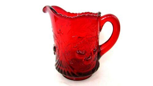 VINTAGE FENTON L G WRIGHT RUBY RED CHERRY WREATH CREAMER CREAM PITCHER EUC
