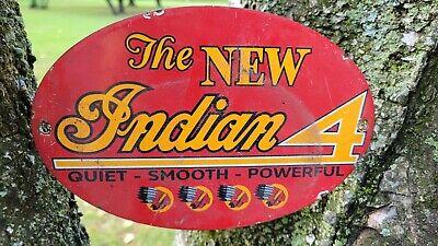 OLD VINTAGE INDIAN MOTORCYCLES MOTORCYCLE DEALER DEALERSHIP PORCELAIN SIGN