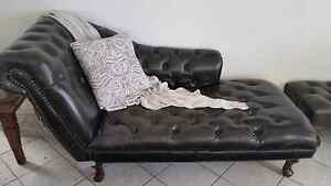 Leather Chesterfield chaise chair chocolate brown Bundall Gold Coast City Preview