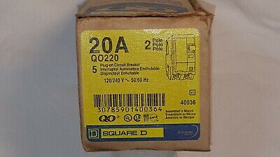Brand New Square D Qo220 20amp 2 Pole 120240v Plug-in Circuit Breaker