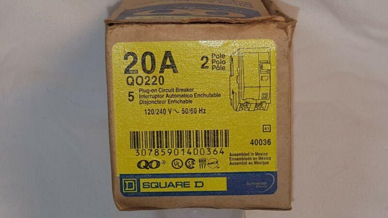 """""""BRAND NEW"""" Square D QO220 20amp 2 pole 120/240V Plug-In Circuit Breaker"""