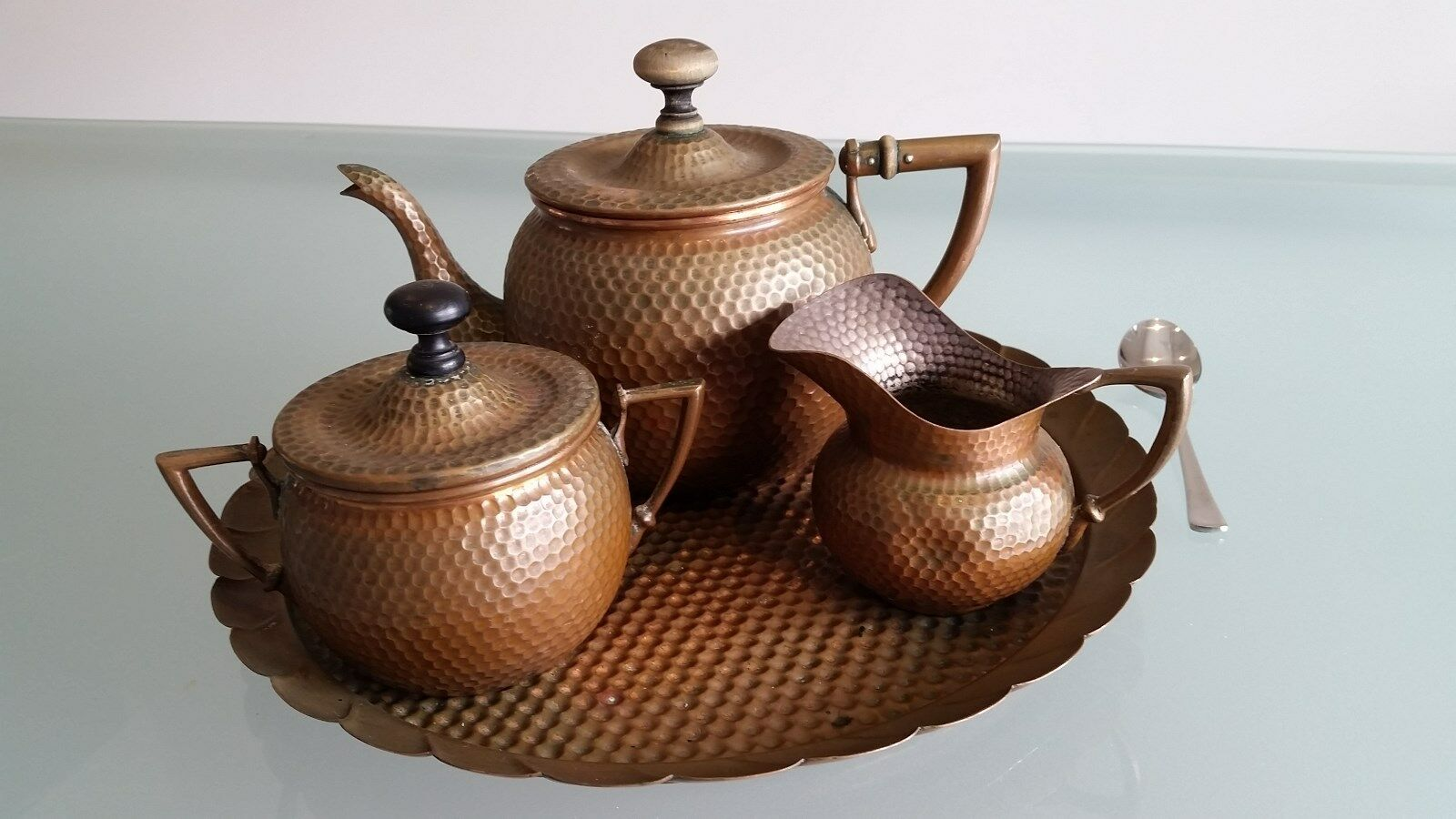 JOSEPH SANKEY & SONS ANTIQUE 4 PIECE COPPER TEA SEVICE (c1900), ORIGINAL. LOOK !