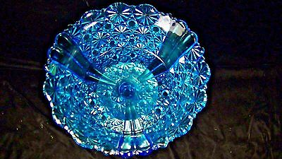 BLUE DAISY & BUTTON BOWL on SILVER STAND w. DOG, Compote, Card Receiver
