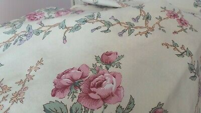 "Pair curtains vintage cottage country Cream pink lilac floral.Each 66""x72"" drop."