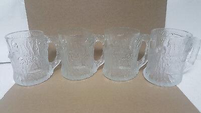 (4) 1993 MCDONALDS FLINTSTONES TREEMENDOUS GLASS MUG MADE IN FRANCE / MINT !!