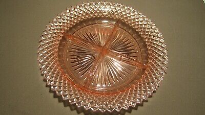 """8.5"""" DIAMOND POINT DIVIDED CANDY DISH, MISS AMERICA PINK DEPRESSION GLASS Diamond Point Candy Dish"""