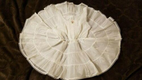 Vtg Girls White Crinoline Petticoat Slip Full Circle Ruffle Nylon 3T by STONE