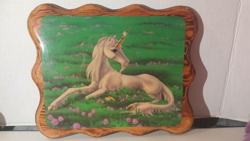Vintage 1985 Sue Dawe Unicorn Lacquered Wood Wall Plaque