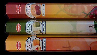Pie Incense - FRUIT PIE Cherry Green Apple Peach 60 HEM Incense Stick 3 Scent Sampler Gift Set