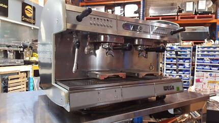 COFFEE MACHINE ESPRESSO 2 GROUP WEGA CONCEPT STAINLESS/RED USED