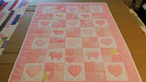 Handmade Animals/Hearts Baby  Girl Quilt