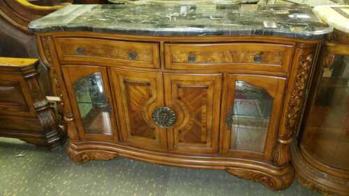 AICO by Michael Amini Excelsior sideboard with marble top