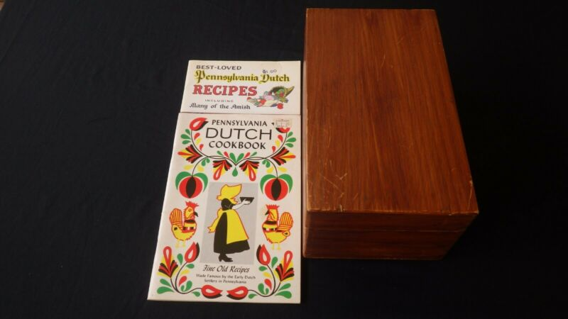 Vintage Wood Dovetailed Recipe Box With Recipes + 2 Cookbooks