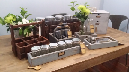 Vintage Rustic Wooden Crate/Canister Set/Cutlery tray/ Spice jars
