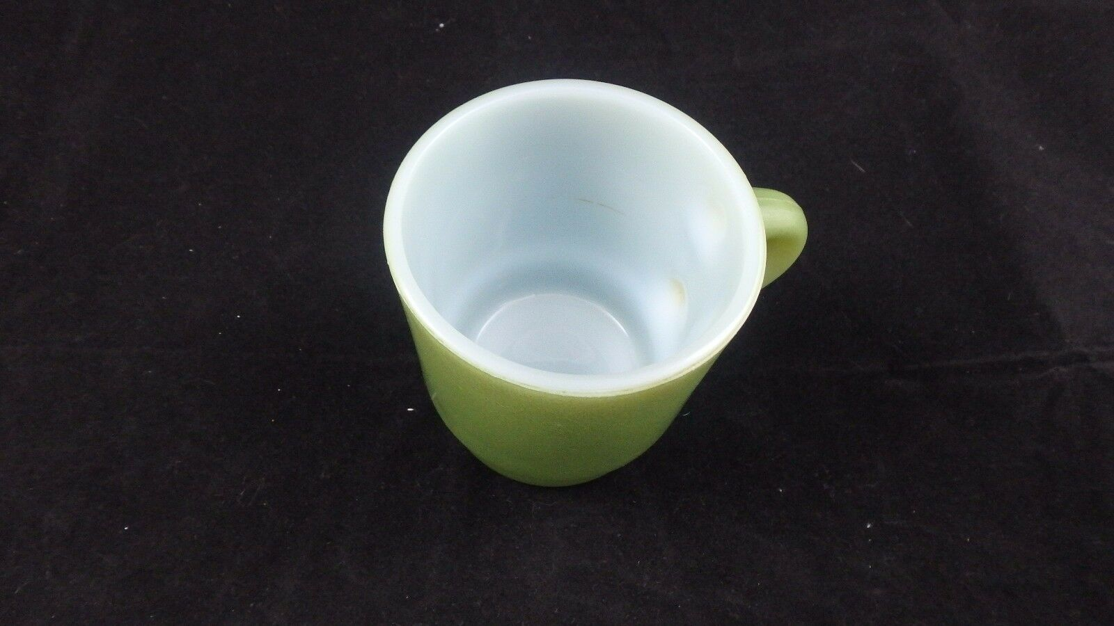 VINTAGE FIRE KING GREEN STACKABLE COFFEE CUP / MUG ANCHOR HOCKING