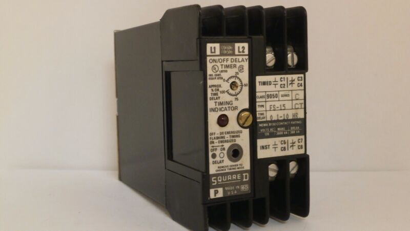 SQUARE D TIMING RELAY W/INDICATOR  0.1-10 HR   9050 FS-15