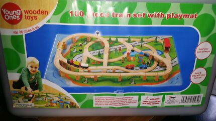 Young Ones 100 Piece Wooden Train Set Aspendale Gardens Kingston Area Preview
