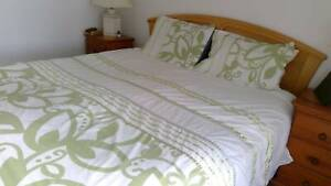 Queen size quilt cover and 2 matching pillowcases.