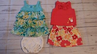 Little Wonders Baby Girl 6-9 Month Tropical Flower Dress Shirt Top Skirt Toucan