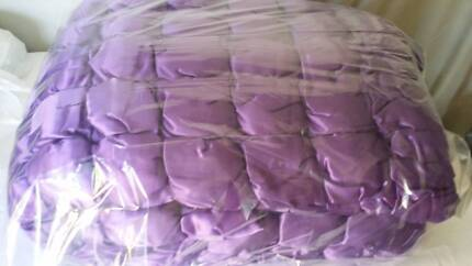 Purple Satin Solid Full Size Double Bed Cover Bedding Set Airds Campbelltown Area Preview