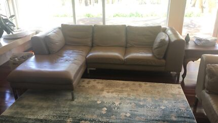 Camel 100% leather couch