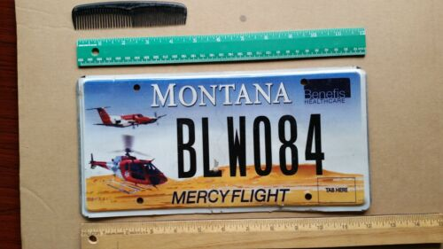 License Plate, Montana, Specialty: Mercy Flight, Airplane, Helicopter, BLW 084