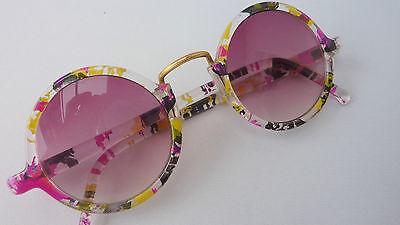 Vintage Sonnenbrille rund runde Gläser bunt extra ausgefallen schrill size M