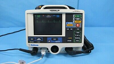 Physio Control Lifepak 20 Biphasic Spo2 Hard Paddles With Cables And Warranty