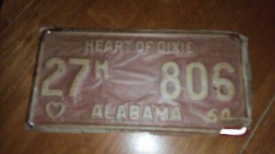 1964 64 Alabama heart of dixie car tag license plate Super RARE L@@K
