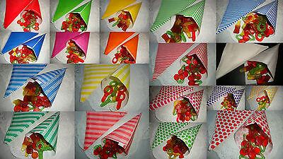 100 Spitztüten Papiertüten für Candybar Bonbontüten viele neue Muster & Farben