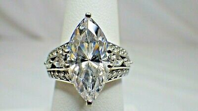 NWT ABSOLUTE BOLD 4.86cttw MARQUIS ROUND CZ SZ 5 STERLING SILVER RING HSN