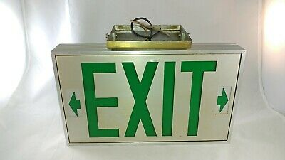 Vintage Lighted Metal Glass Exit Sign Adjustable Arrows Aluminium Display Cave