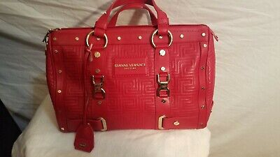 Gianni Versace Couture Red Quilted Greek Key Leather Studded Satchel Bag EUC