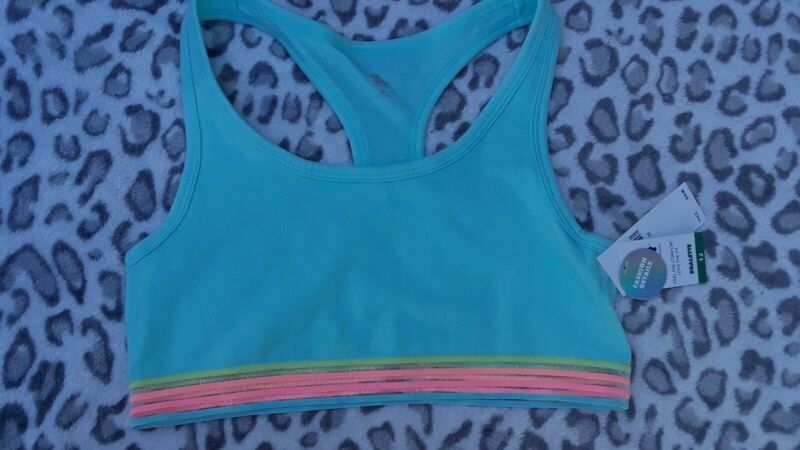 Girls justice striped mesh sport bra size 32 new teal with multi stripes