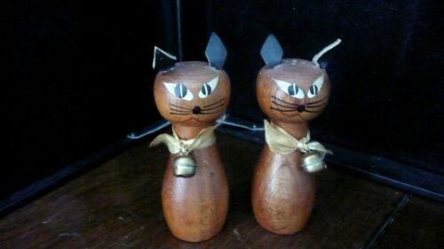 Teak? cat Salt and Pepper shakers w leather ears
