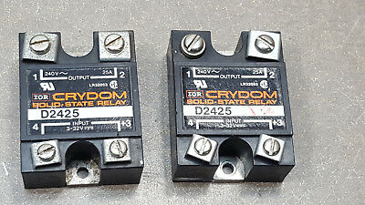 Lot Of 2 Crydon Solid State Relay Model D2425 240v 25a. 3-32vdc.