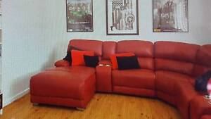 Red Leather Modular sofa/settee with Electric Recliner Edgewater Joondalup Area Preview