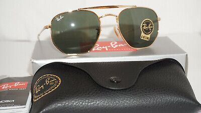 RAY BAN Sunglasses New Marshal Gold Green G-15 RB3648 001 54 (Ray Ban Original Round Sunglasses)