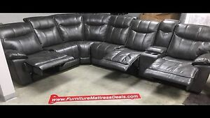 New Charcoal 7 Pce 3 Recliner sectional with 2 USB chargers$2995